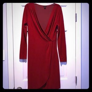 ANN TAYLOR RED FAUX WRAP DRESS CURVED HEM 8